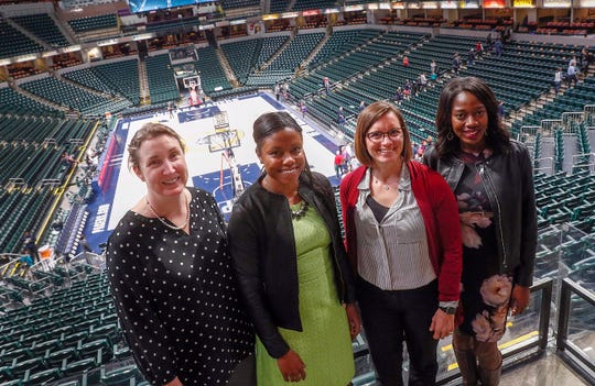 The Pacers organization is leading the league when it comes to women in positions of power. From left to right are Mel Raines, Shayna Sangster, Donna Wilkinson and Tatiana Holifield, all in leadership roles with the team.