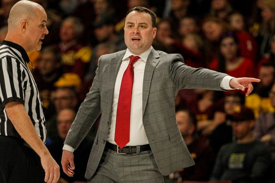 Indiana coach Archie Miller yells to his team as they play Minnesota Feb. 16, 2019, in Minneapolis. Minnesota won 84-63.