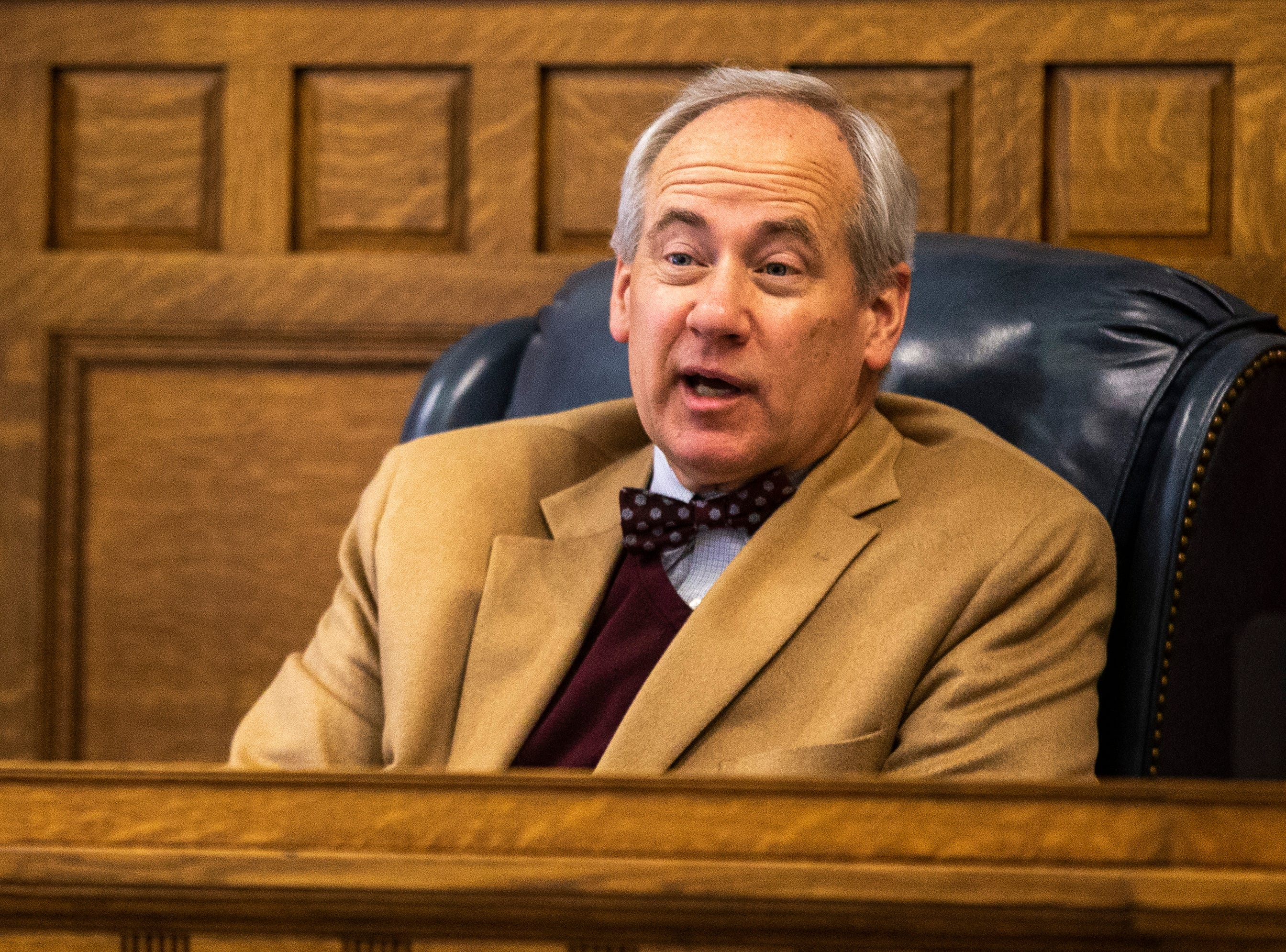 District 5 Judge Robert B. Hanson speaks during a pre-litigation hearing, Monday, Feb. 18, 2019 at Johnson County Courthouse in Iowa City, Iowa.