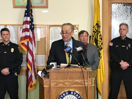 U.S. Sen. Chuck Schumer spoke at Elmira City Hall Monday to call for passage of the POWER Act.