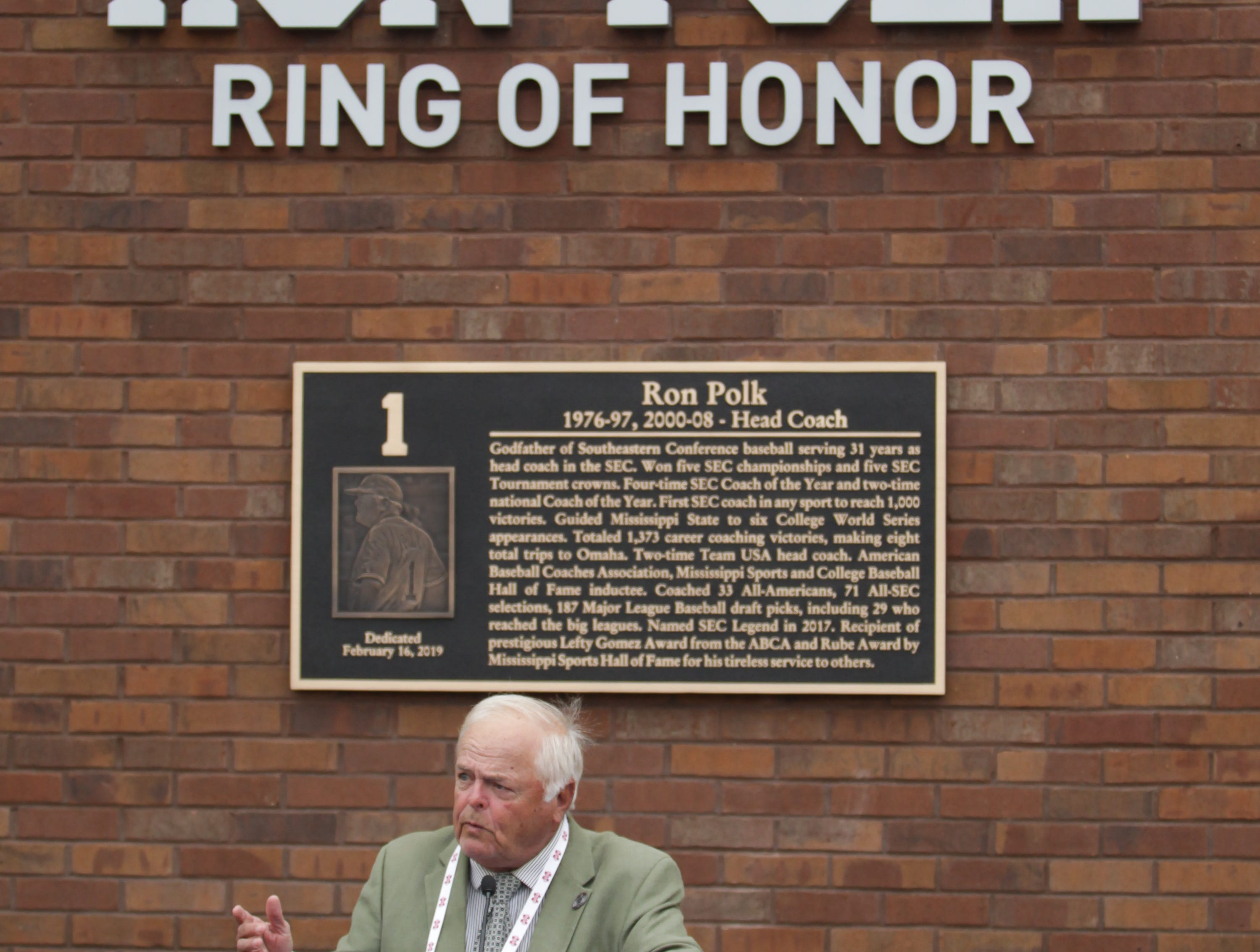 Former head coach Ron Polk speaks at the Ring Of Honor Inductee Ceremony. Mississippi State played Youngstown State on Saturday, February 16, 2019. Photo by Keith Warren