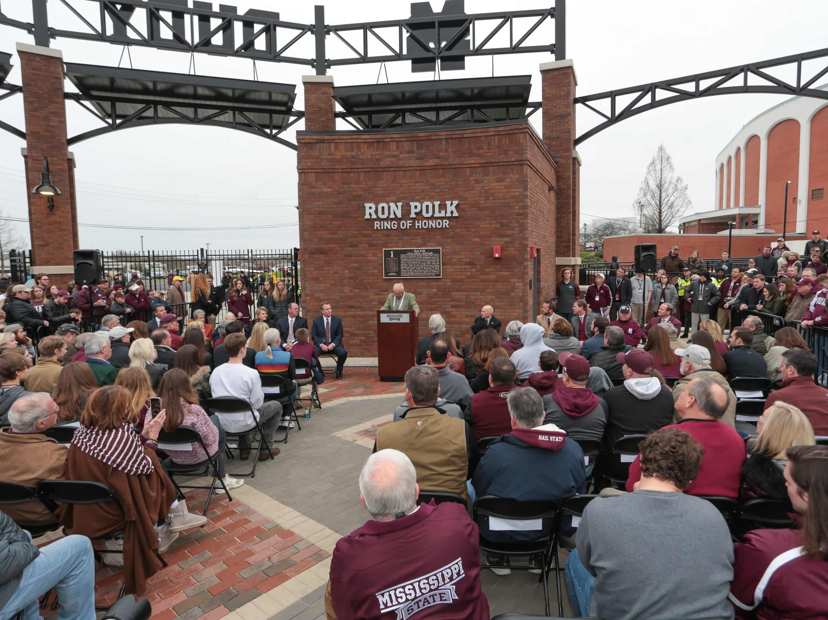 Former head coach Ron Polk speaks at the Ring Of Honor induction Ceremony. Mississippi State played Youngstown State on Saturday, February 16, 2019. Photo by Keith Warren
