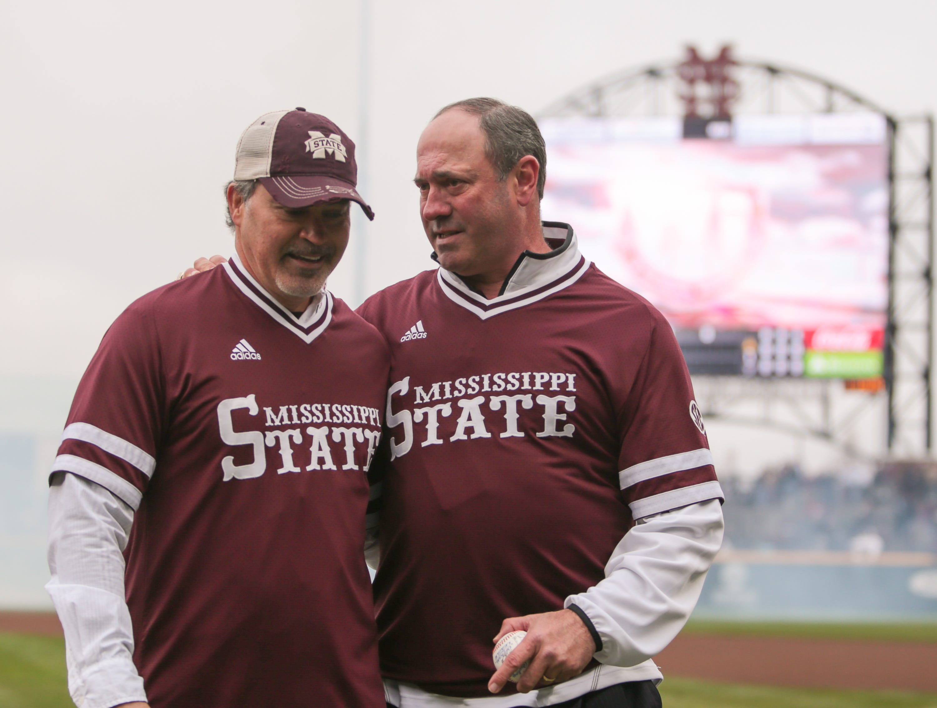 Rafael Palmeiro and Will Clark talk prior to the game. Mississippi State played Youngstown State on Saturday, February 16, 2019. Photo by Keith Warren