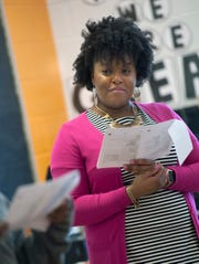 Kristy Thomas listens to some of her students read excerpts of a play they've been studying. Thomas is a fourth-grade teacher at William Dean Jr. Elementary School in Lexington, Mississippi.