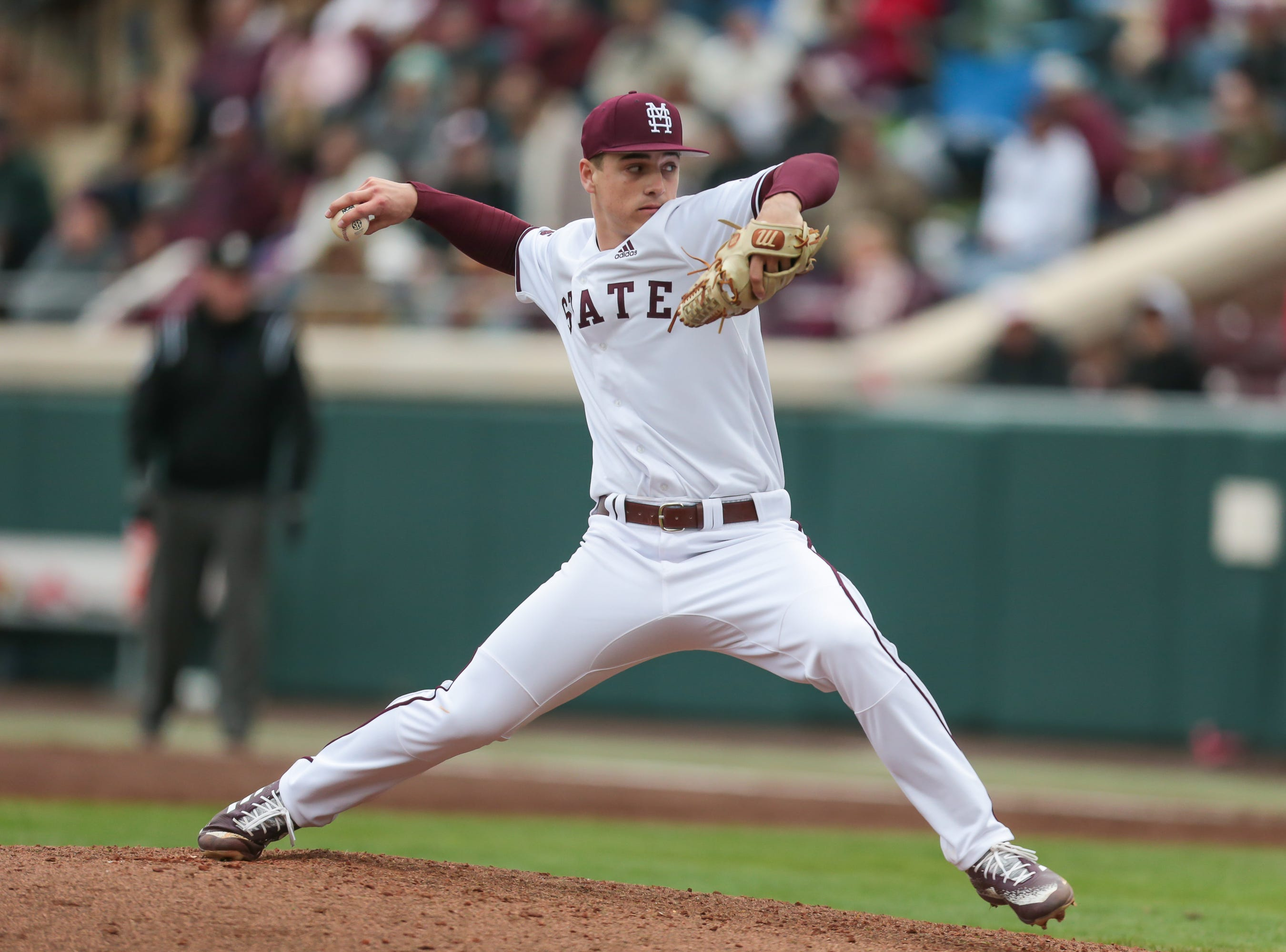 Mississippi State's J.T. Ginn (3) releases a pitch in the third inning. Mississippi State played Youngstown State on Saturday, February 16, 2019. Photo by Keith Warren