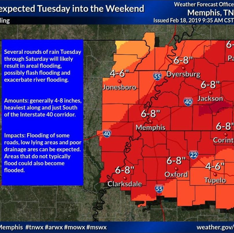 West Tennessee braces for week of excessive rain, potential floods