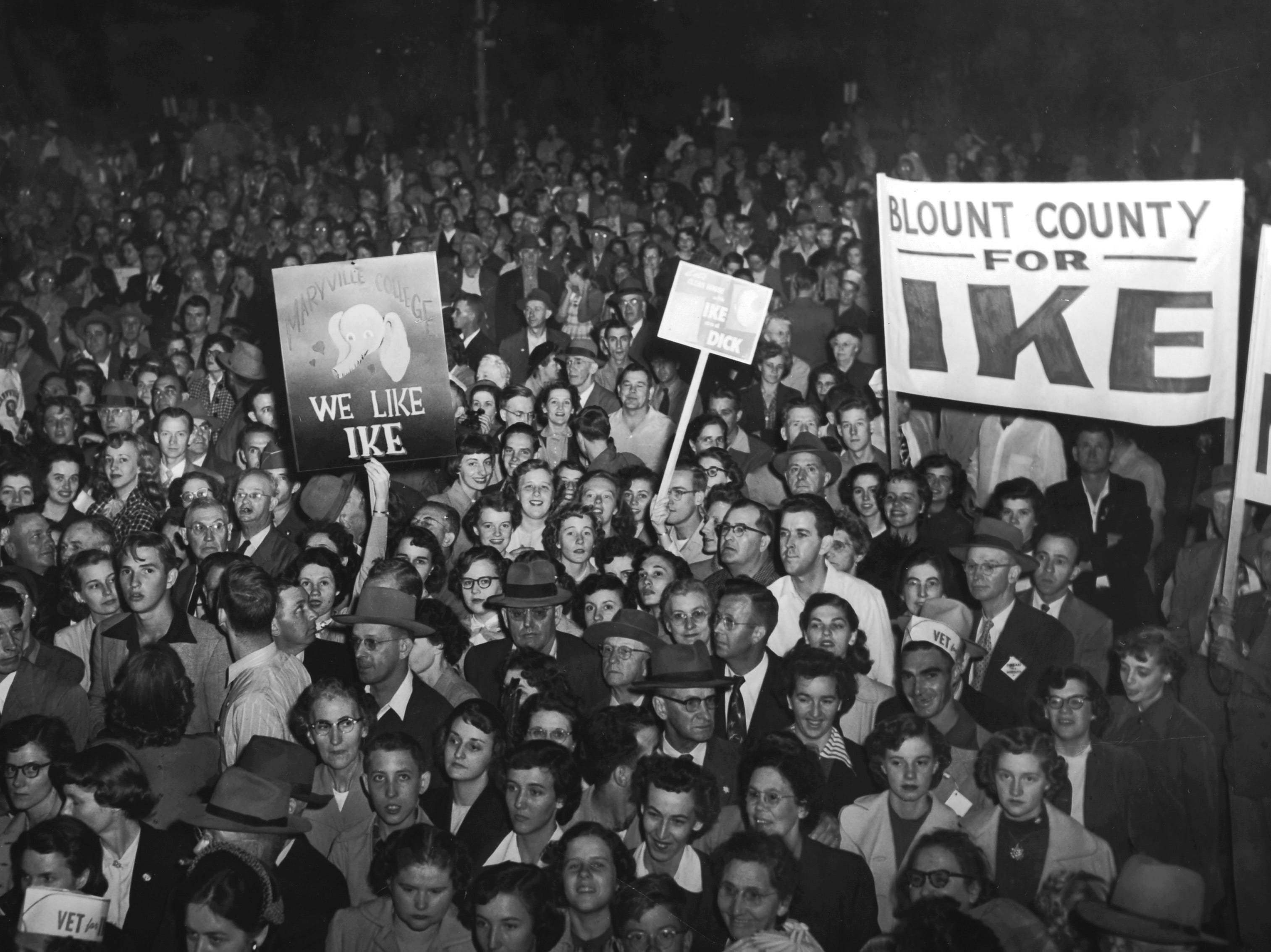 Supporters gather for a campaign appearance by Republican Presidential nominee Gen. Dwight D. Eisenhower Oct. 15, 1952 at Knoxville's Municipal Airport. The News Sentinel reported that the Associated Press and United Press wire services initially estimated 3,000 - 5,000 people attended the rally but boosted the number to 15,000 after state GOP Chairman Guy. L. Smith complained.