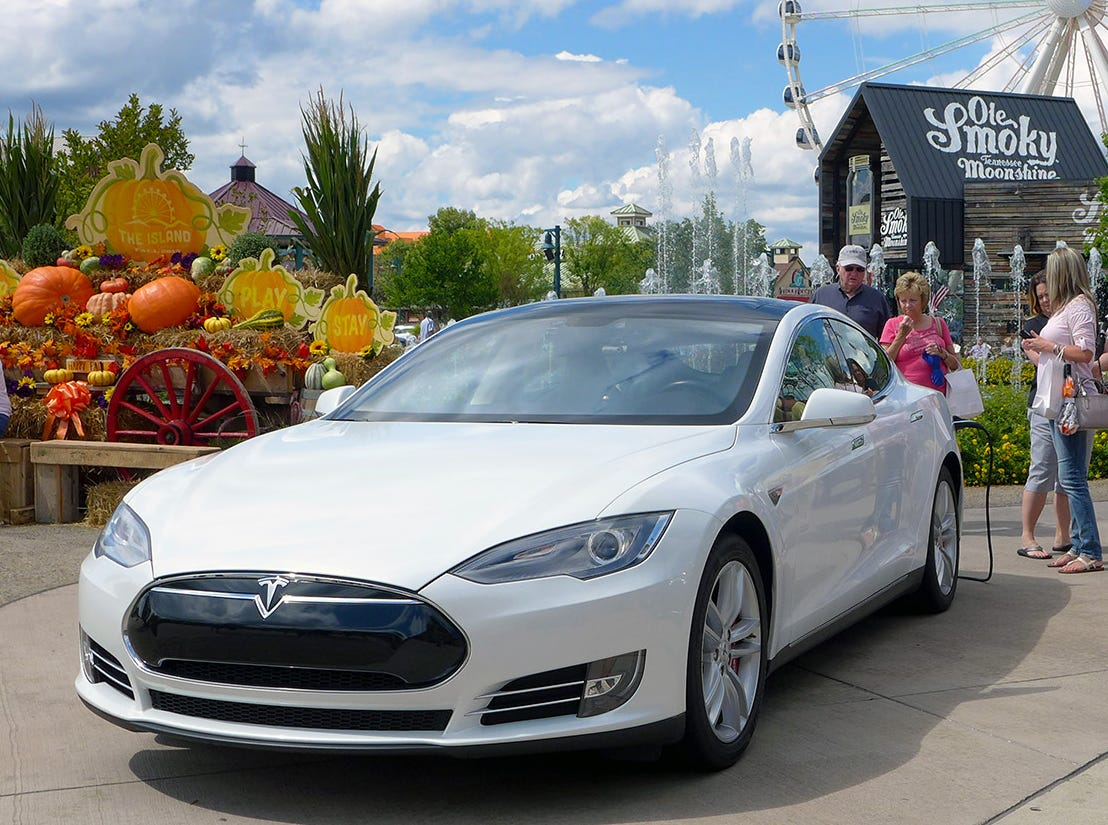 A Tesla Model S electric car sits on display at an electric vehicle event at The Island in Pigeon Forge last Saturday.
