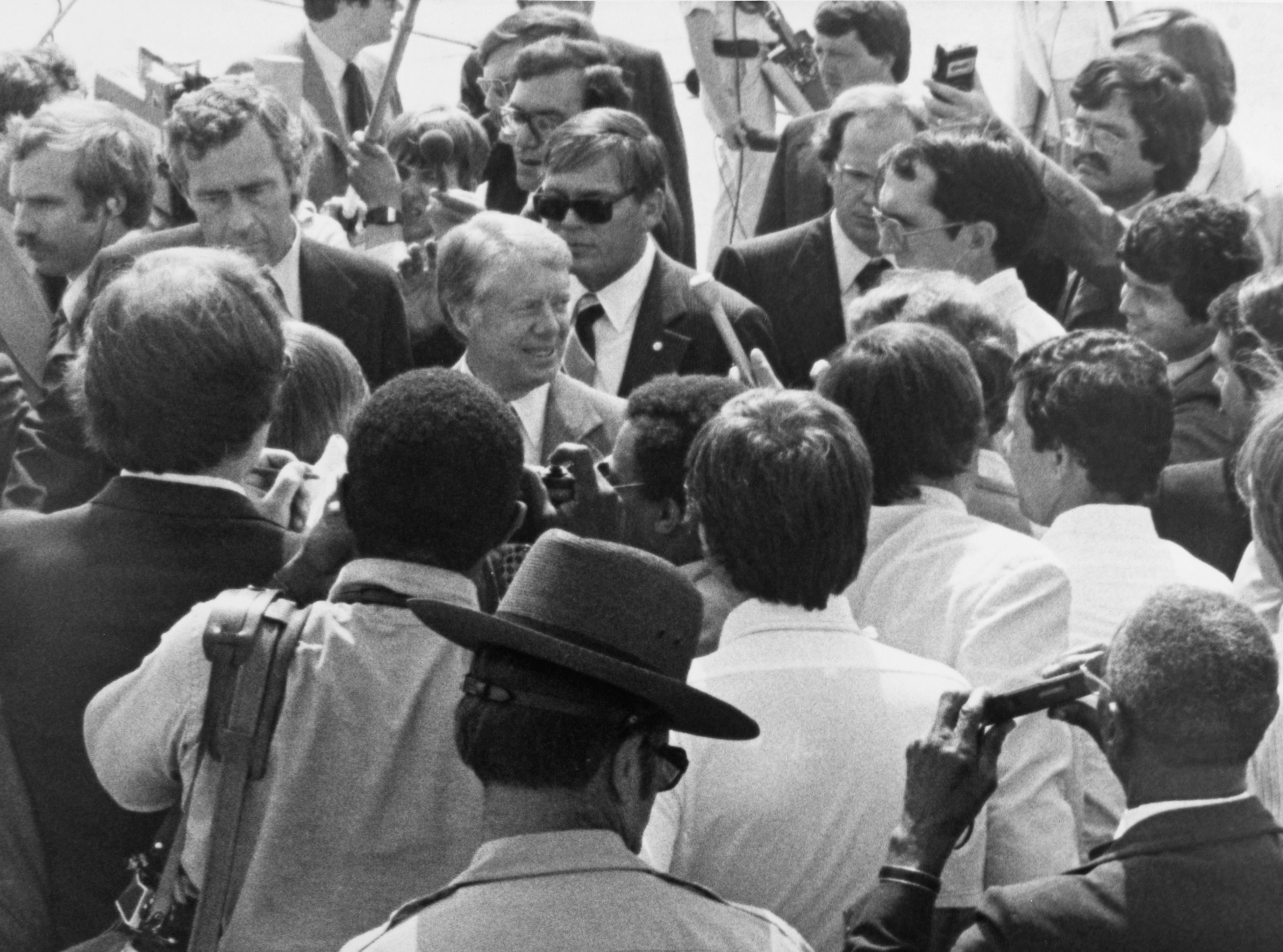 President Jimmy Carter answers questions from reporters prior to boarding Air Force One on May 22, 1978, at McGhee Tyson Airport. (News Sentinel Archive)