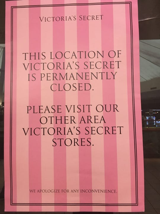 The sign posted at the Victoria's Secret location in Knoxville Center Mall.  The two-storefront retailer was one of few remaining national brands left in the mall in East Knoxville.