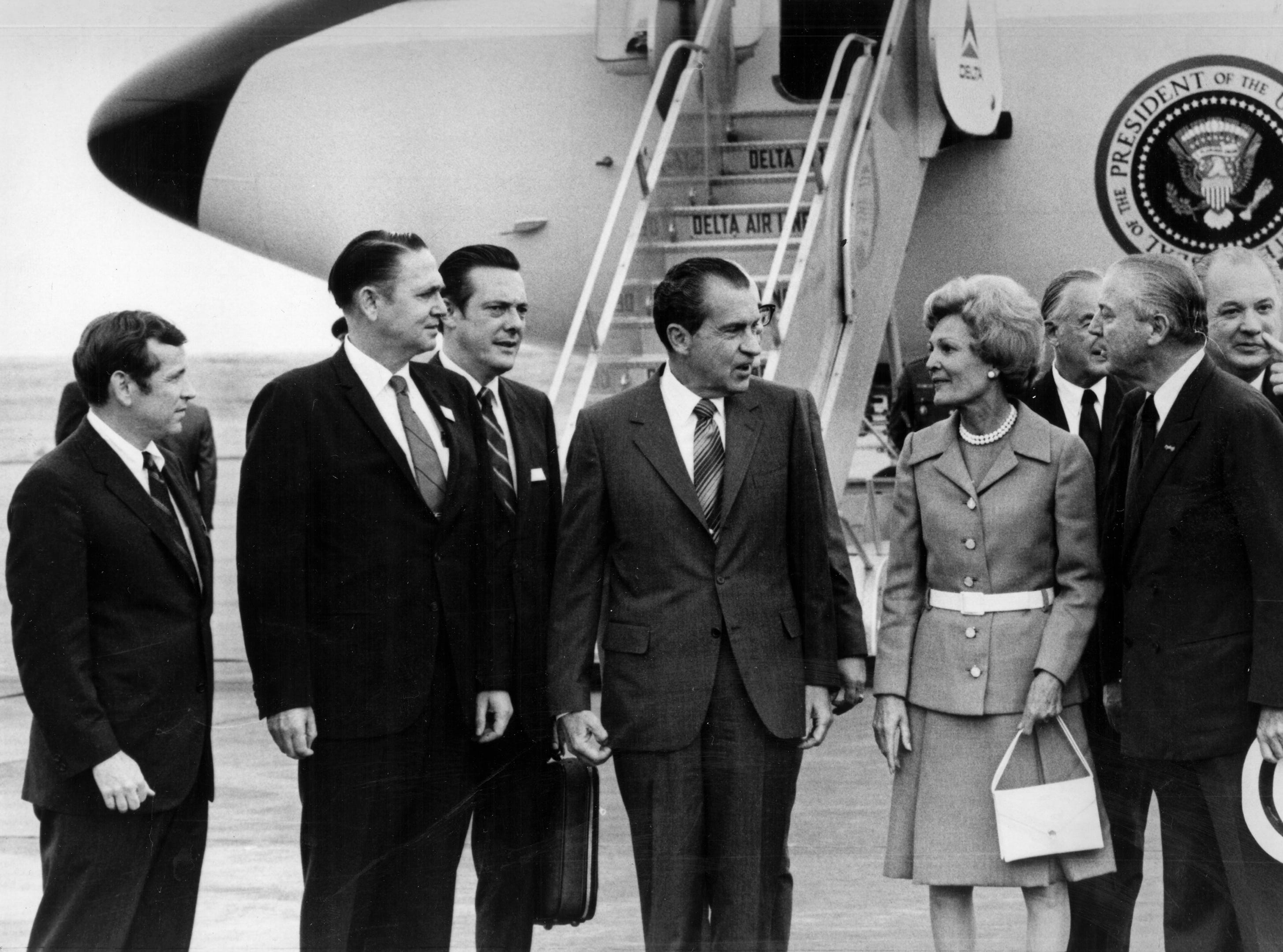 In a May 28, 1970, photograph, President Richard Nixon arrives for the Billy Graham Knoxville Crusade. Pictured are U.S. Sen. Howard H. Baker, Jr., left, U.S. Rep. John J. Duncan, Sr., U.S. Rep. Bill Brock III, Nixon, and First Lady Pat Nixon. (News Sentinel Archive)