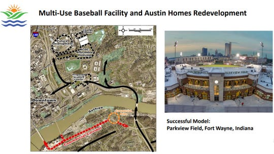 "A map of the proposed ""future development"" site for baseball and a photo of Parkview Field in Fort Wayne, Ind., were included on a PowerPoint slide by the city for its budget retreat earlier this month."