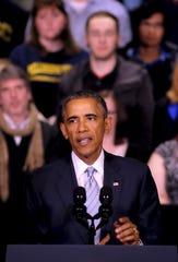President Barack Obama speaks at Pellissippi State Community College in 2015.
