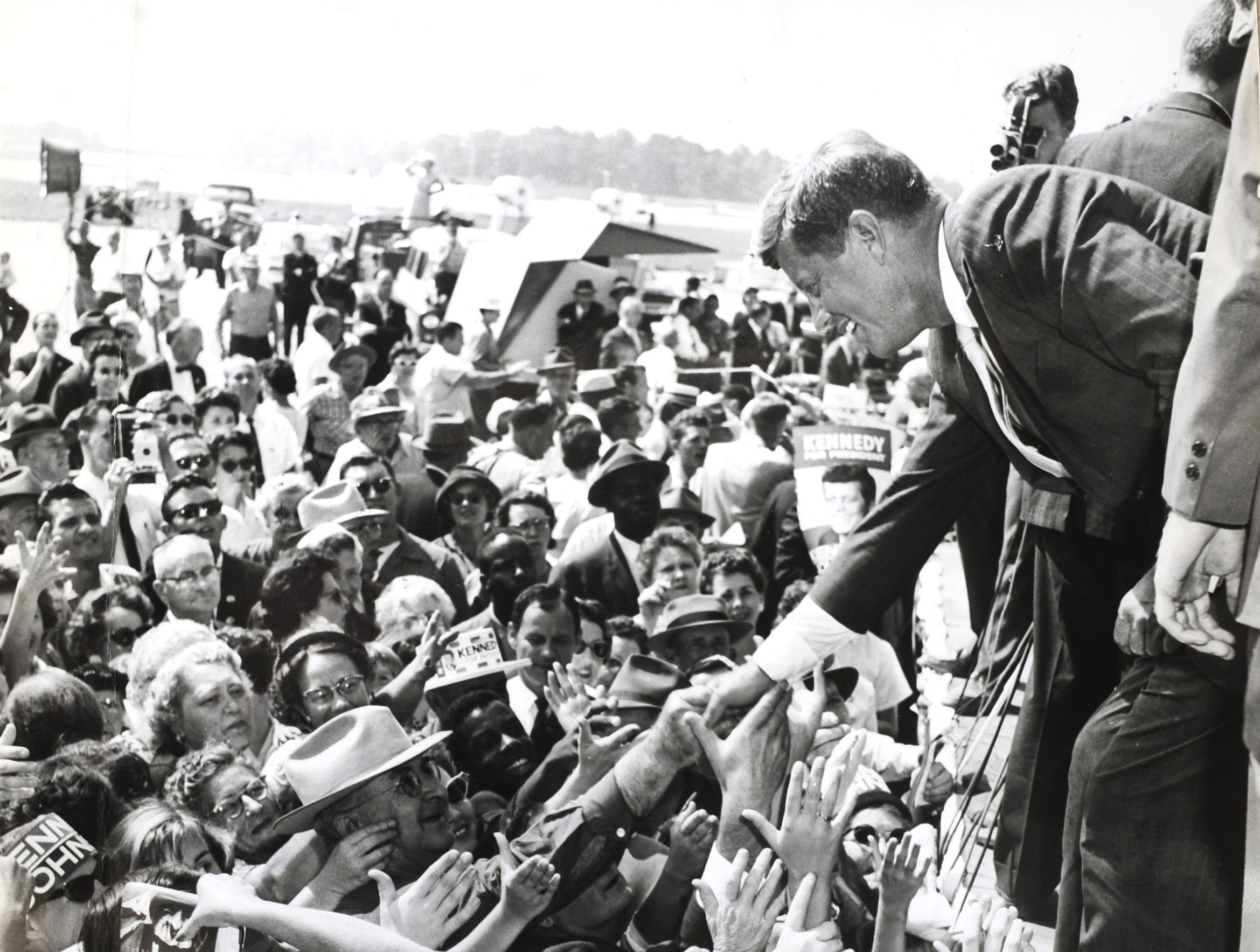 President John F. Kennedy campaigns at McGhee Tyson Airport, Sept. 21, 1960. (KNS Archive)