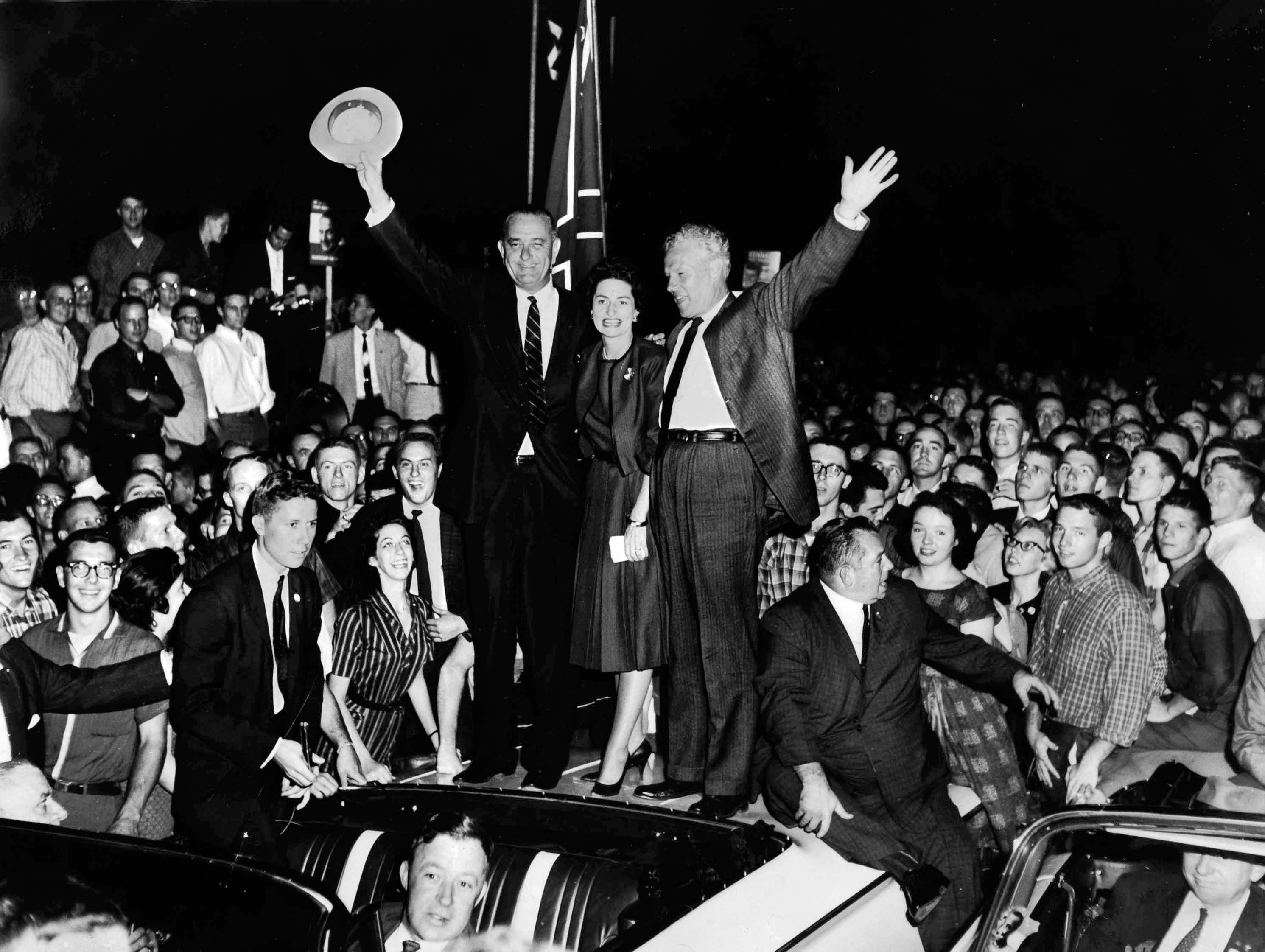 In a Sept. 30, 1960, photograph, Democratic Vice Presidential candidate Lyndon B. Johnson visits Knoxville with his wife, Lady Bird, and U.S. Sen. Albert Gore Sr.