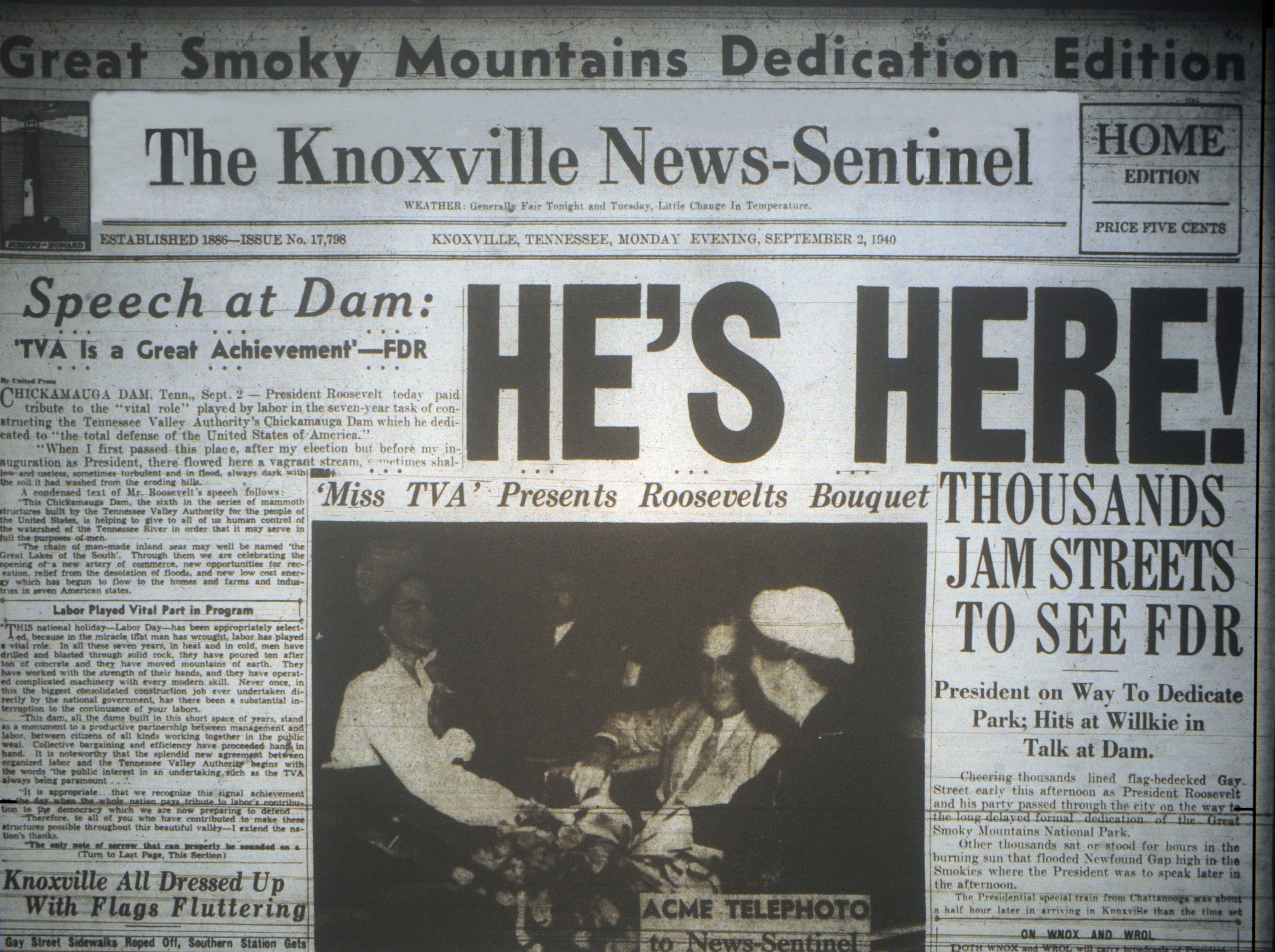 The Knoxville News Sentinel reports on the visit of President Franklin D. Roosevelt on Sept. 2 1940.