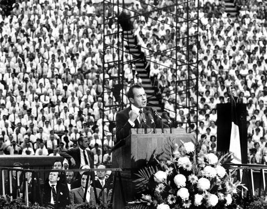 In a May 28, 1970, photograph, President Richard Nixon delivers a speech during the Billy Graham East Tennessee Crusade at Neyland Stadium. It was Nixon's first appearance at a college campus since the Kent State shootings earlier in the month. (University of Tennessee Libraries)