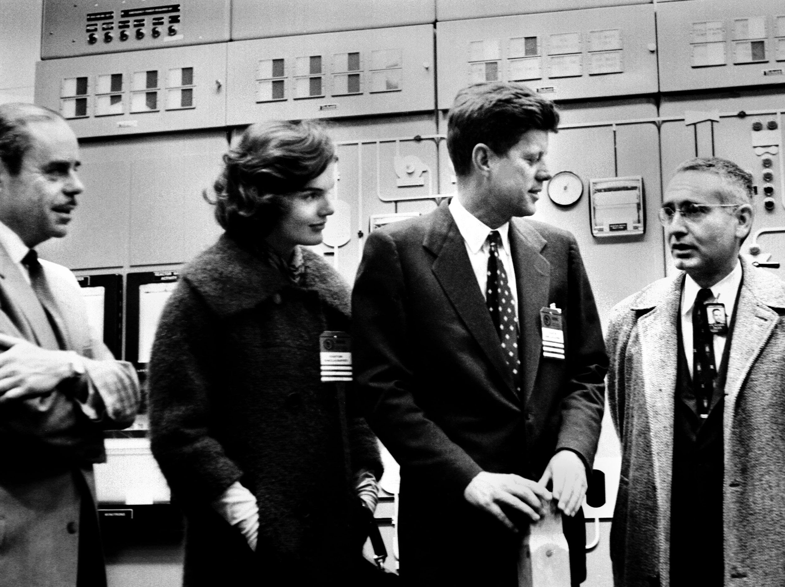 Sen. John F. Kennedy and his wife, Jacqueline, visit the Oak Ridge Research Reactor on Feb. 24, 1959.  At far right is Sen. Albert Gore, Sr; beside him is ORNL Director Alvin Weinberg. The man at left is Sam Sapirie of the U.S. Atomic Energy Commission.