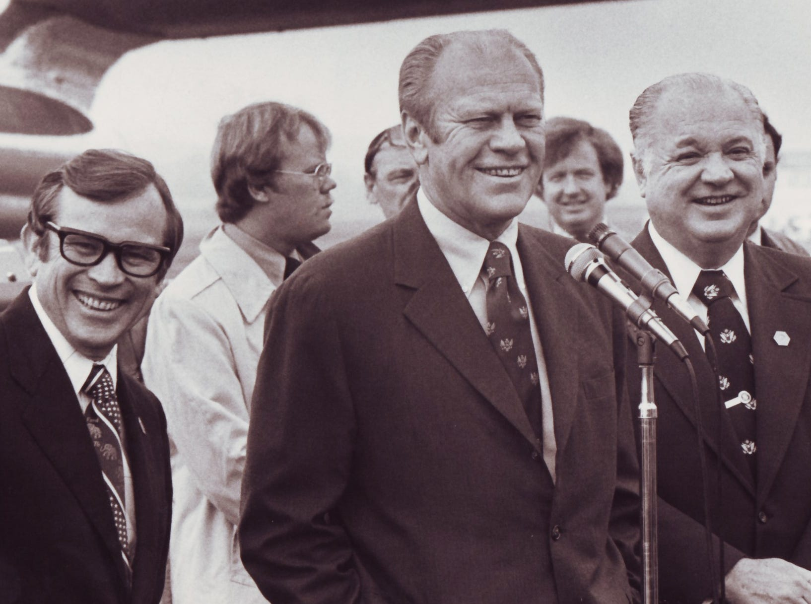 President Gerald Ford at the Tri-Cities Airport while visiting Johnson City. Ford, center, with U.S. Sen. Howard Baker, left, and U.S. Rep. James Quillen. May 14, 1976