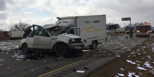 Two people in the SUV died in a crash about 12:50 p.m. Monday on I-74 just west of U.S. 231 in Crawfordsville.