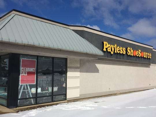 A Payless ShoeSource store in Genoa Township advertises its liquidation clearance sale, Monday, Feb. 18, 2019.