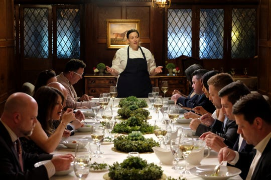 "Contestant Sara Bradley explains her dish to the judges on ""Kentucky Farewell,"" episode 12 of Bravo's 'Top Chef:' Kentucky season."