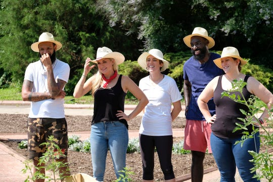 """(From left to right): Contestants Justin Sutherland, Kelsey Barnard, Adrienne Wright, Eric Adjepong and Sara Bradley on """"Kentucky Farewell,"""" episode 12 of Bravo's 'Top Chef:' Kentucky season."""