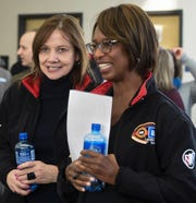 General Motors Chairwoman and CEO Mary Barra, left, and Alicia Boler-Davis, GM's executive vice president for global manufacturing at the GM Lansing Delta Township Assembly Plant Monday, Feb. 18, 2019, where Barra announced that GM will invest $36M into the plant.  [MATTHEW DAE SMITH/Lansing State Joural]