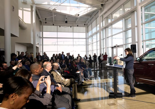 General Motors Chairwoman and CEO Mary Barra speaks Monday, Feb. 18, 2019, at the Lansing Delta Township Assembly Plant in Delta Township, announcing that GM will invest $36M at the plant.  [MATTHEW DAE SMITH/Lansing State Joural]