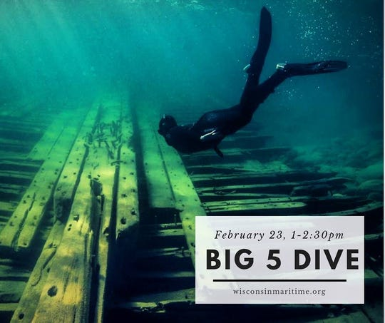 """Manitowoc's Wisconsin Maritime Museum will host a screening of the short adventure documentary """"The Big Five Dive"""" at 1 p.m. Saturday."""