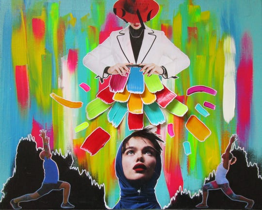 """""""Make It Rain"""" by Lybra Ray, acrylic paint and collage, 18 inches by 24 inches."""