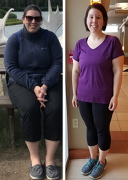 Jennifer Vraney (before, left, and after the weight loss), lost 40.8 pounds since the 2018 Lean on the Lakeshore challenge ended, earning her the for Most Continued Weight Lost award.