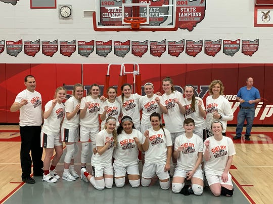 The Shelby Lady Whippets pose for a team picture on Saturday after completing the regular season 20-2 and an undefeated Mid-Ohio Athletic Conference championship.