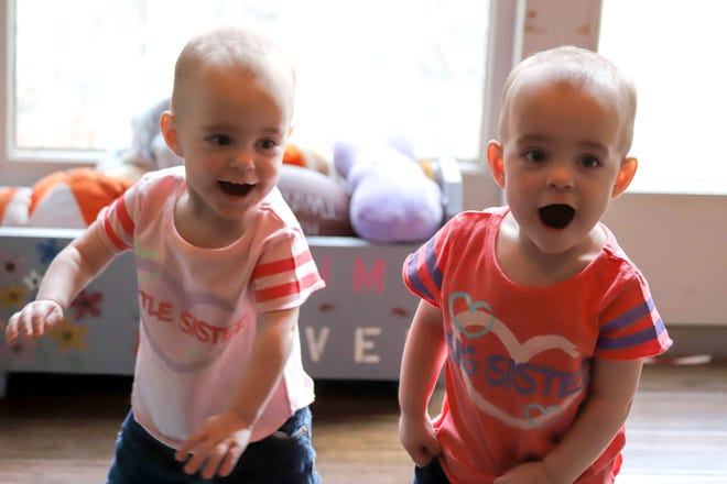 """The Hartzler twins had a rocky start in life, with Autumn's life being """"touch and go"""" in the womb due tomitral stenosis and both being born prematurely. With help from Early Intervention and Help Me Grow, services provided by Marion County Board of Developmental Disabilities, the twins have grown and recently celebrated their first birthday."""
