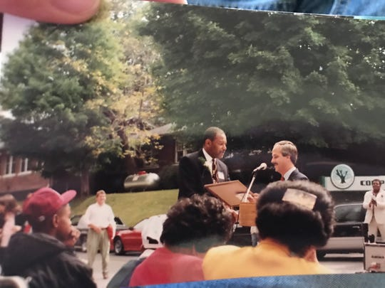 """Bernie Bickerstaff addressed his hometown of Benham, Kentucky in 1991 when the town renamed a stretch of highway """"Bernie Bickerstaff Boulevard."""" Bernie's son, J.B. Bickerstaff is head coach of the Memphis Grizzlies and was in attendance that day."""