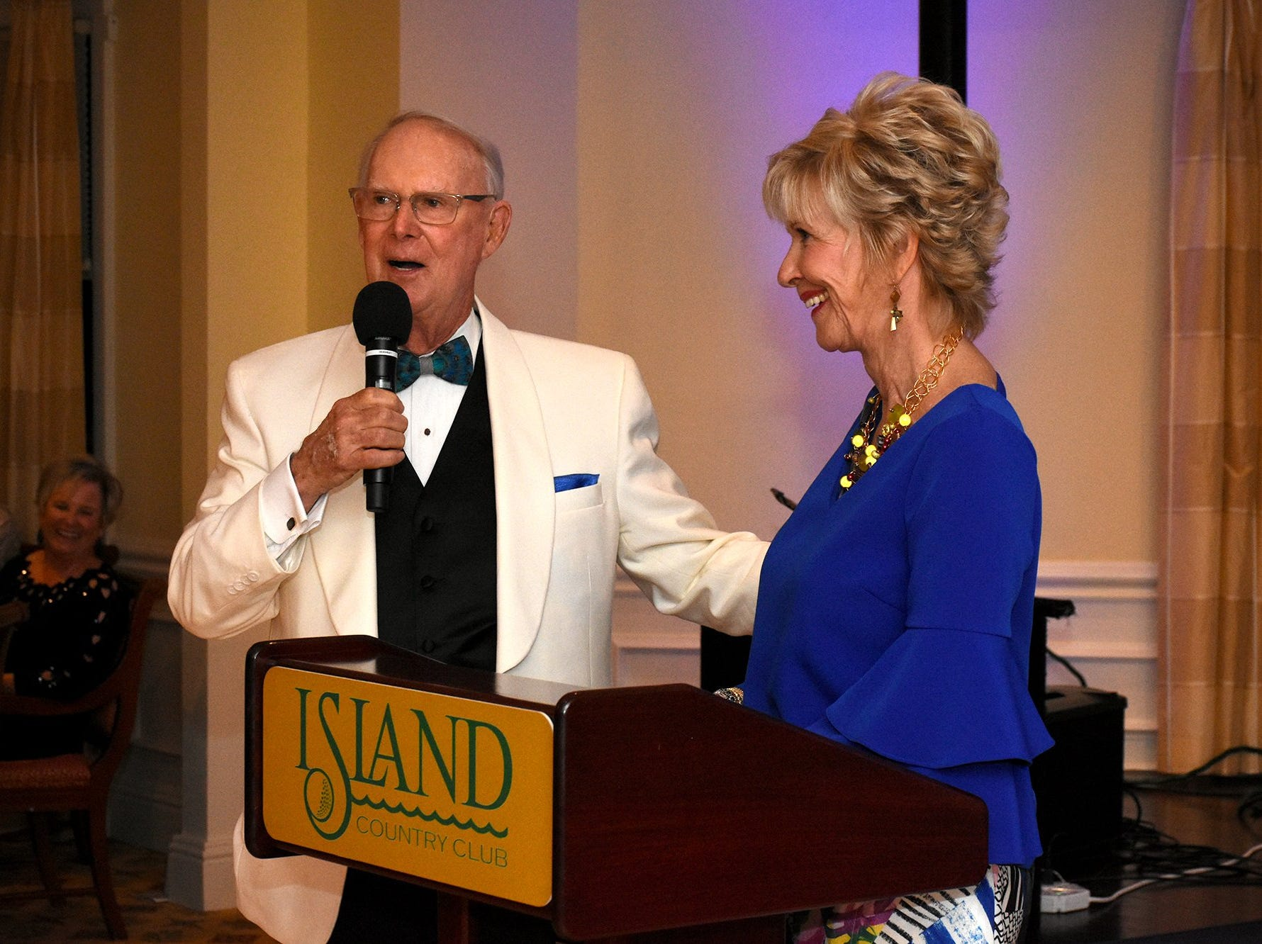 """Gala honorees John and Emily James make some remarks. The Marco Island Cdenter for the Arts held """"Celebrate Art by the Sea,"""" their annual gala, Saturday evening at the Island Country Club."""