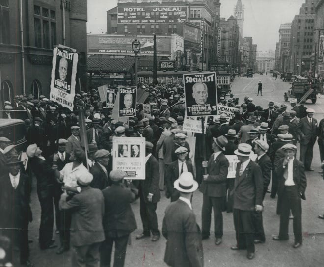 Socialists turn out to greet Socialist Party of America candidate Norman Thomas at the Chicago and North Western train station in downtown Milwaukee in 1932 - the year the Socialists held their national convention in Milwaukee for the first time.