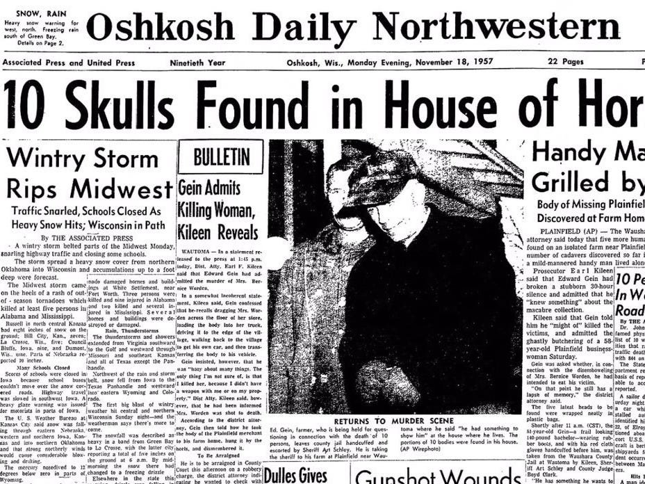 The front page of the Oshkosh Daily Northwestern showing Ed Gein.