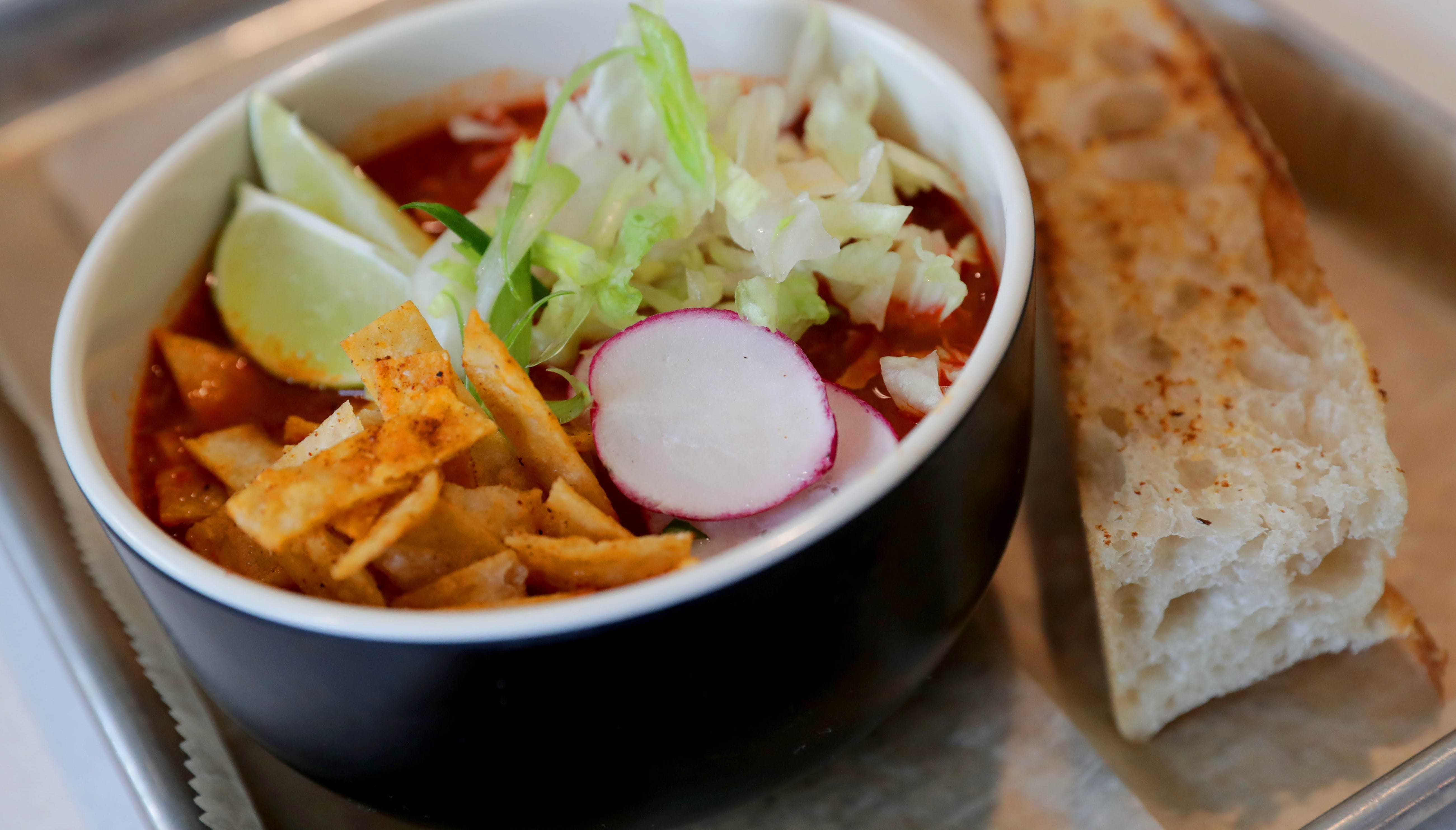 Frida soup and sandwiches offers this Pork Pozole...