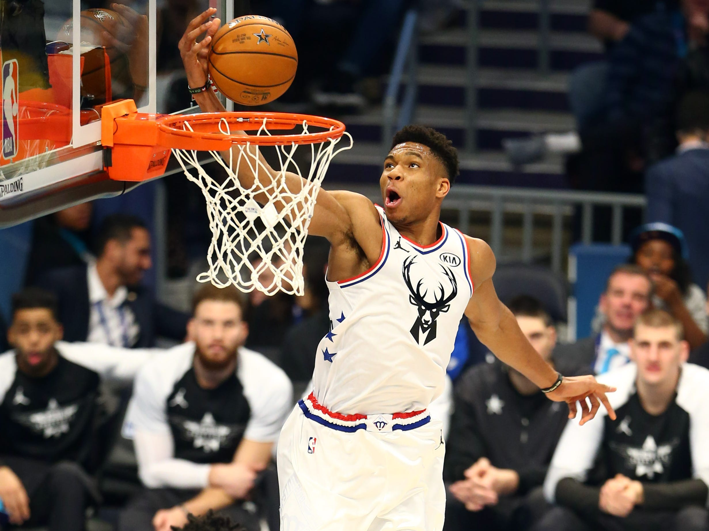 Giannis Antetokounmpo elevates for two of his 38 points on Sunday night in the NBA All-Star Game.