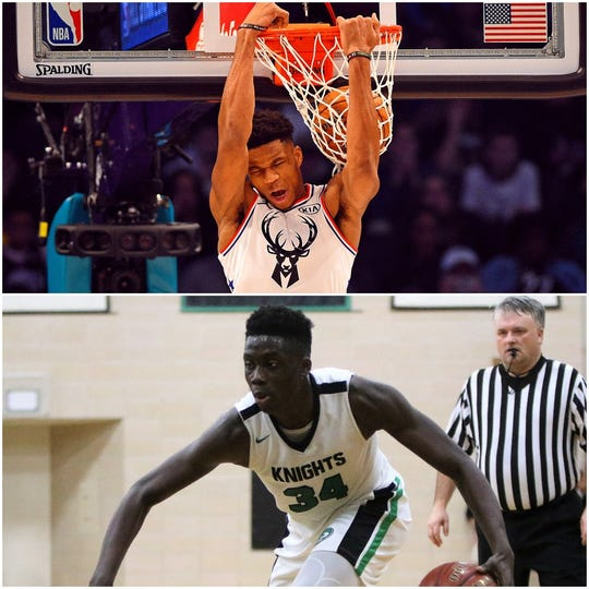 While Giannis Antetokounmpo (top) was throwing dunk dunks in the NBA All-Star Game, brothers Alex (below) and Kostas Antetokounmpo were watching from up close.