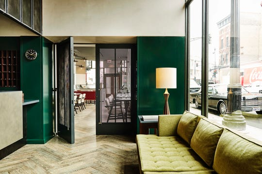 The Robey Hotel kept the nearly century-old building's original geometric marble floors.