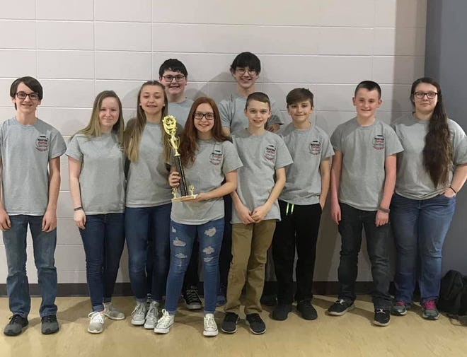 The Norfork JuniorHigh quiz bowl team recently took first place at the regional tournament at Izard County High School.The team will now compete against other Class 1Aschools on Feb.23rd at the Junior High State Tournament, hosted by UACC-Morrilton. Members of the team are: (first row, from left)Trakker Estes, Ashton Beavers, Amber Weber, Madison Hall, Jesse Maple, Harley Lawhorn, Preston Seay, Emily Sechrest, (second row)Billy Branscum and Elliott Ruegsegger.Ruegsegger was named MVP of the tournament, which means he averaged the most correctly answered questions per game. Ruegseggerand Madison Hall made the All-Tournament team, which qualifies them for the JuniorHigh All-Star tournament on March 2.