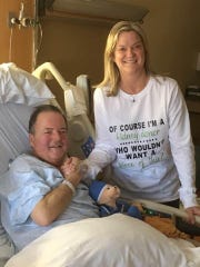 Bob Williams with Kim Roumes, his neighbor in the Succasunna section of Roxbury, who volunteered to donate a kidney to the longtime radio traffic reporter. The operation on Feb. 12 was a success.