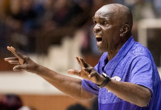 B.T. Washington coach Thomas Torbert coaches against Dale County in AHSAA Regional action at Garrett Coliseum in Montgomery, Ala., on Monday February 18, 2019.