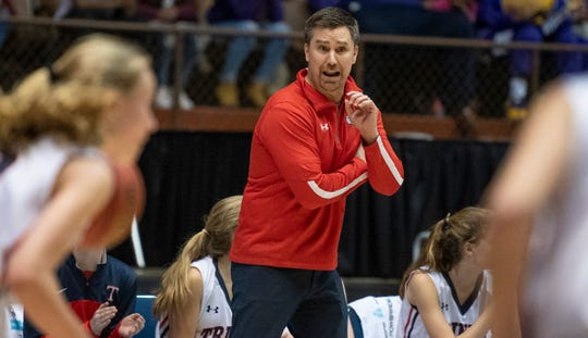 Trinity coach Blake Smith coaches against Childersburg in AHSAA Regional action at Garrett Coliseum in Montgomery, Ala., on Monday February 18, 2019.