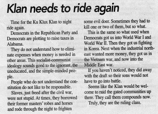 "The editor and publisher of a small-town Alabama newspaper last week called for the resurgence of the Ku Klux Klan to ""clean up D.C."""