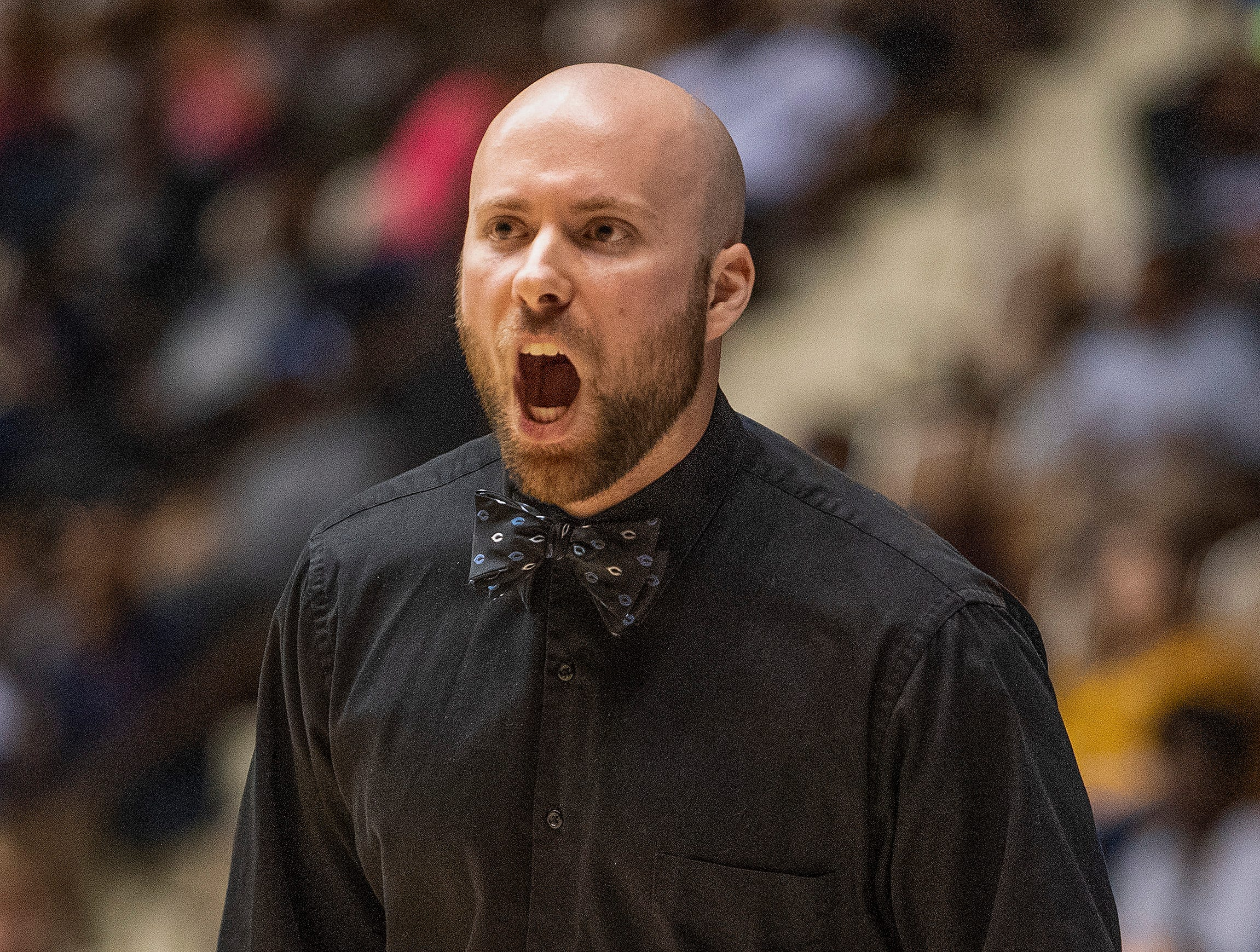 Childersburg coach Gavin King coaches against Trinity in AHSAA Regional action at Garrett Coliseum in Montgomery, Ala., on Monday February 18, 2019.