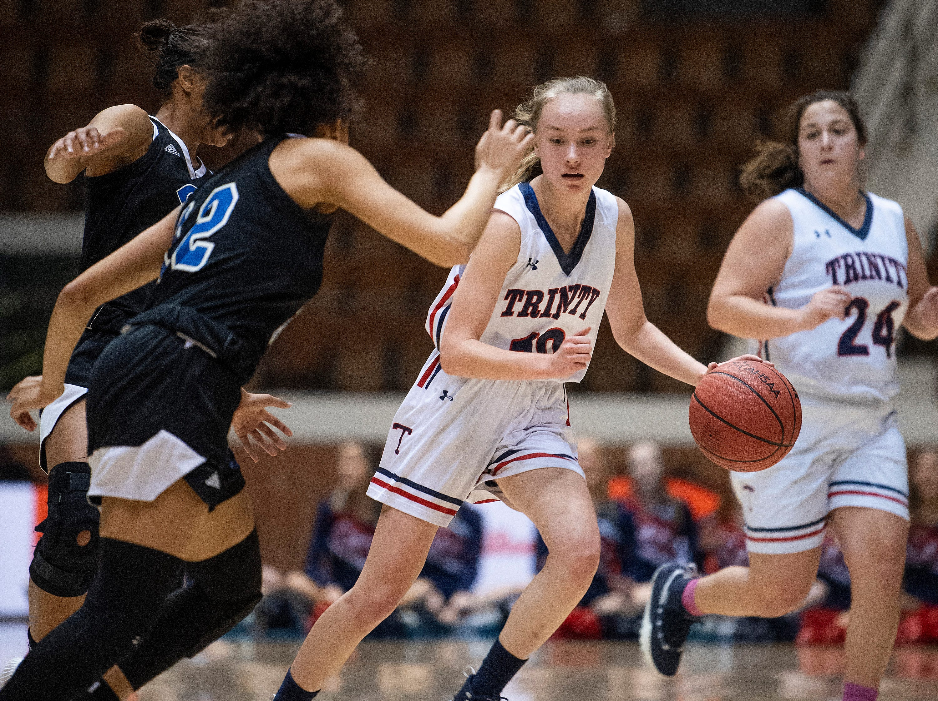 Trinity's Emma Kate Smith against Childersburg in AHSAA Regional action at Garrett Coliseum in Montgomery, Ala., on Monday February 18, 2019.