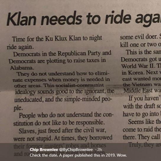Alabama newspaper editor calls for Klan return to 'clean out D.C.'